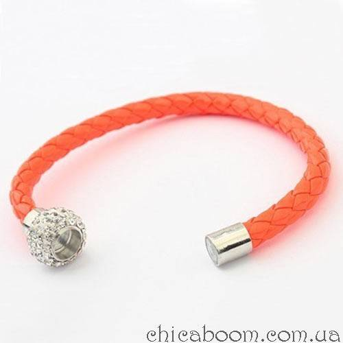 Браслет со стразами оранжевого цвета