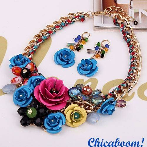 Набор Весенние цветы в синих тонах (ожерелье и серьги)