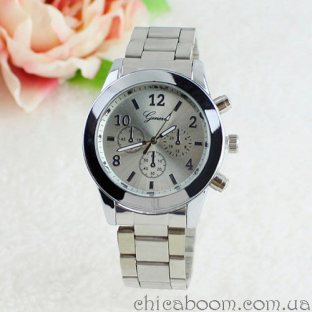 Часы Geneva с металлическим браслетом серебристого цвета