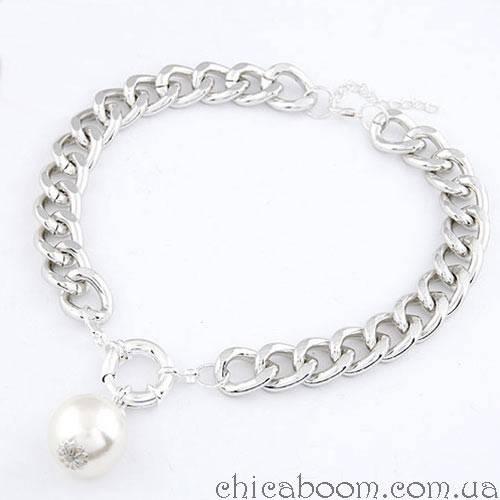 Ожерелье Цепь серебряного цвета с жемчужиной