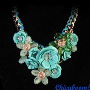 Ожерелье Весенние цветы (бирюзовый цвет)