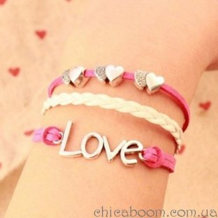 Браслет сердечки+love