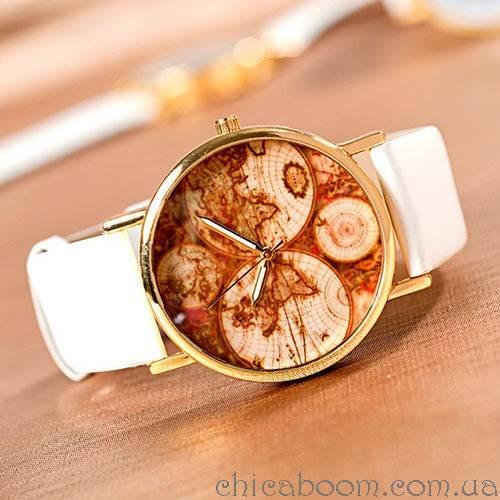 Часы Континенты (белый ремешок)