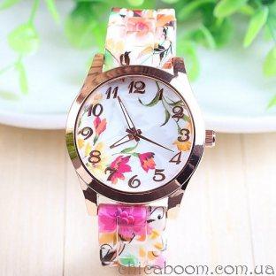Часы с силиконовым ремешком с цветочным принтом на циферблате