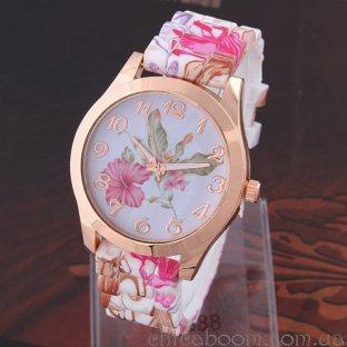 Часы с силиконовым ремешком с цветочным принтом (красный цвет)