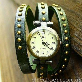 Часы JQ с длинным ремешком зелёного цвета