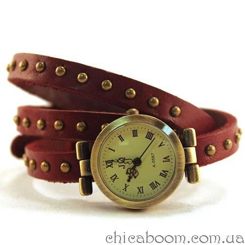 Часы JQ с длинным ремешком вишнёвого цвета