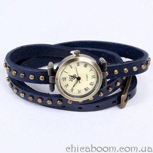 Часы JQ с длинным ремешком синего цвета