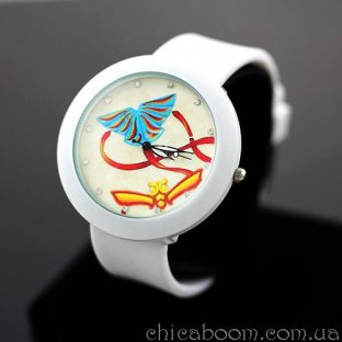 Часы с силиконовым ремешком белого цвета (оранжевая лента)