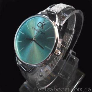 Часы Calvin Klein с металлическим браслетом (циферблат зелёного цвета)