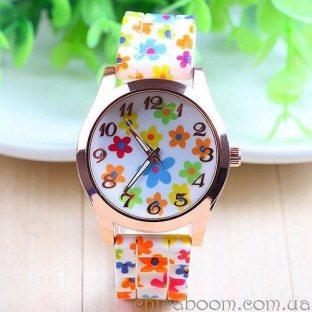 Часы с силиконовым ремешком с цветочным принтом (мультиколор)
