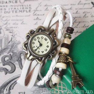 Винтажные часы-браслет с белым ремешком
