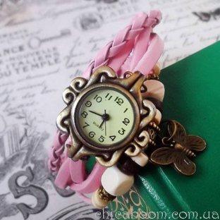 Винтажные часы-браслет с розовым ремешком (бабочка)