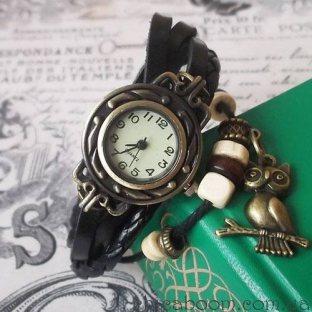 Винтажные часы-браслет с чёрным ремешком (сова)