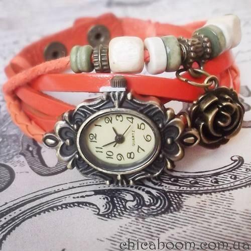 Винтажные часы-браслет с оранжевым ремешком (цветочек)