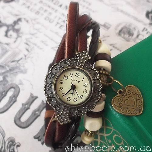 Винтажные часы-браслет с коричневым ремешком (сердечко)