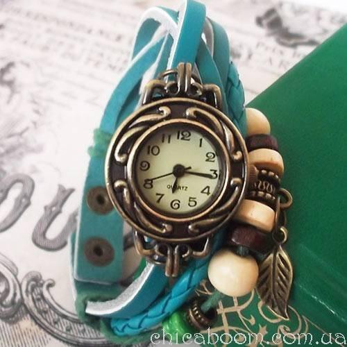 Винтажные часы-браслет с голубым ремешком (листочек)