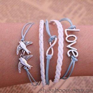 Браслет Love с голубями (голубой цвет)