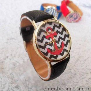 Часы Geneva с кожаным ремешком чёрного цвета (якорь)