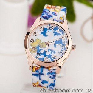 Часы с силиконовым ремешком с цветочным принтом (голубой цвет)