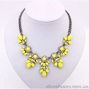 Ожерелье Цветочный кристалл жёлтого цвета
