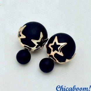 Серьги в стиле Dior чёрного цвета (звёзды)