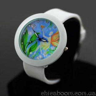 Часы с силиконовым ремешком белого цвета (фея)