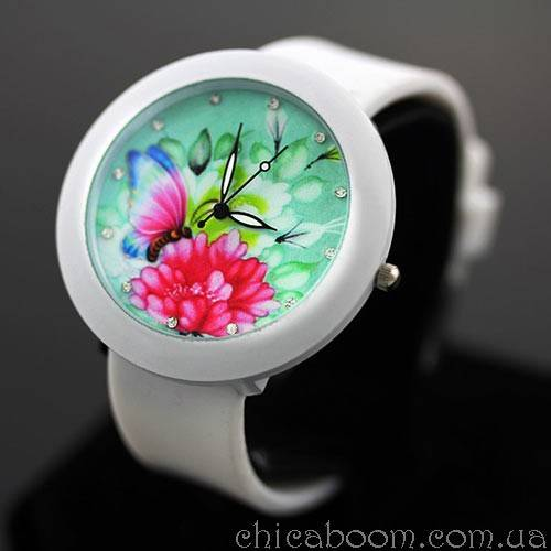 Часы с силиконовым ремешком белого цвета (с цветочком)