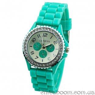 Часы Geneva с силиконовым ремешком мятного цвета и стразами