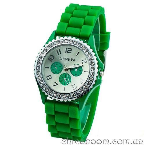 Часы Geneva с силиконовым ремешком зелёного цвета и стразами