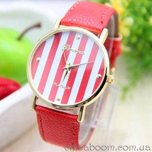 Часы Geneva с кожаным ремешком красного цвета
