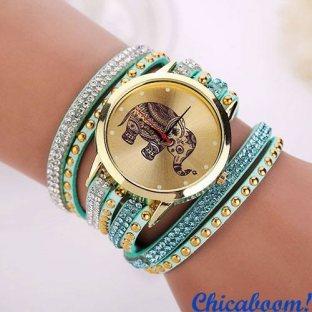 Часы с длинным ремешком голубого цвета (слон)