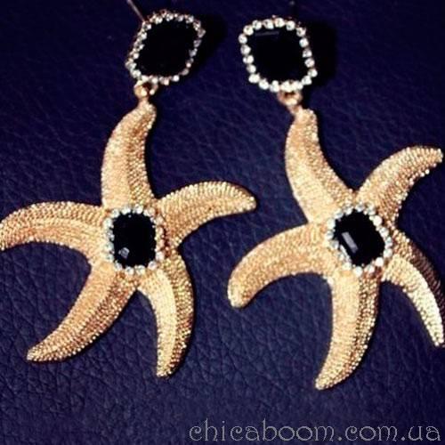 Серьги Морская звезда (чёрная)