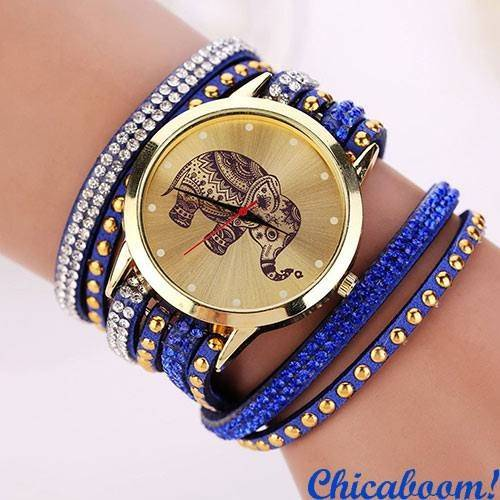 Часы с длинным ремешком синего цвета (слон)