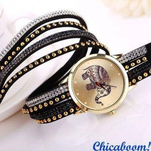 Часы с длинным ремешком чёрного цвета (слон)
