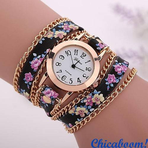Часы с длинным ремешком и цепочкой (цветочные)