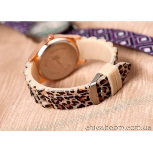 Часы Geneva с силиконовым ремешком (Леопард)