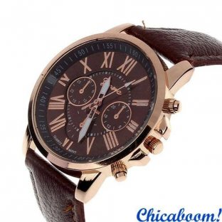 Часы Geneva с коричневым ремешком (римские цифры)
