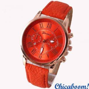 Часы Geneva с красным ремешком (римские цифры)