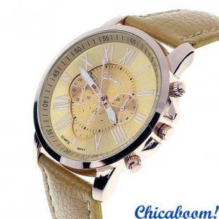 Часы Geneva с бежевым ремешком (римские цифры)