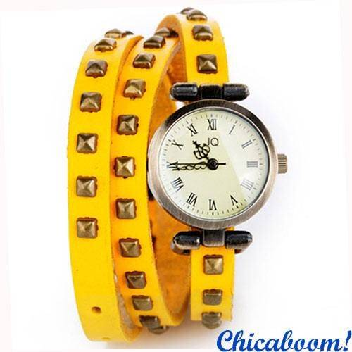 Часы JQ с длинным ремешком жёлтого цвета(квадратные заклёпки)