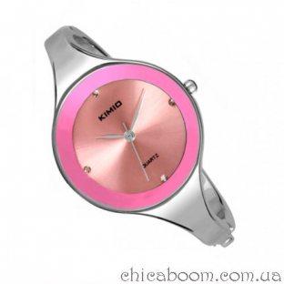 Часы Kimio с металлическим браслетом (розовый циферблат)