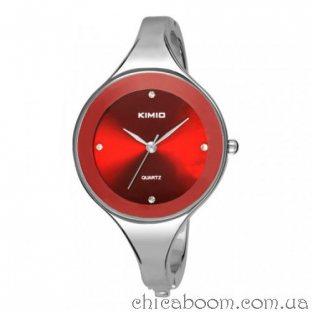Часы Kimio с металлическим браслетом (красный циферблат)