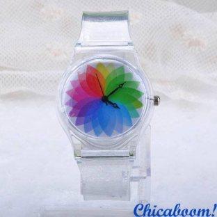 Часы с силиконовым ремешком (радуга)
