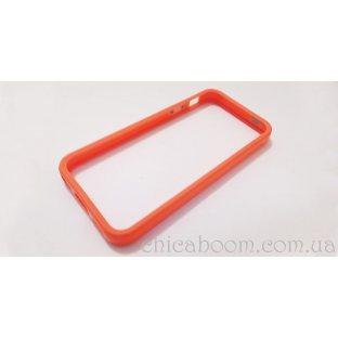 Бампер для iPhone 5 оранжевого цвета (силикон)