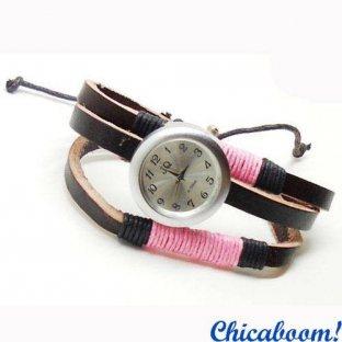 Часы JQ с ремешком коричневого цвета (розовая нить)