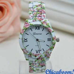 Часы Geneva с цветочным принтом №2 (металл)