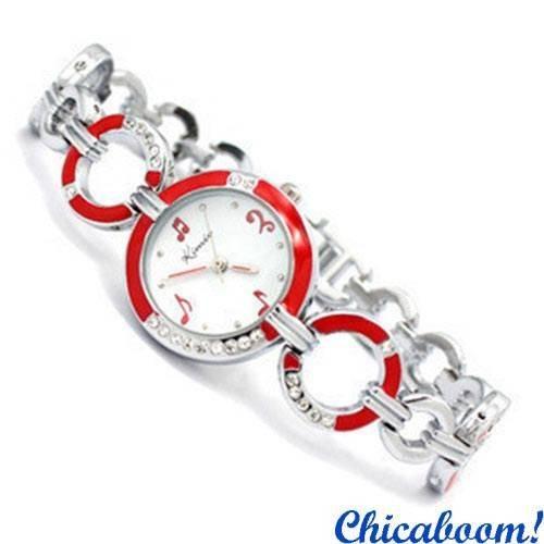 Часы Kimio с металлическим браслетом (красный стиль)