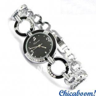 Часы Kimio с металлическим браслетом и чёрным цифеблатом