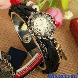 Часы-браслет с ремешком чёрного цвета (крылышко)